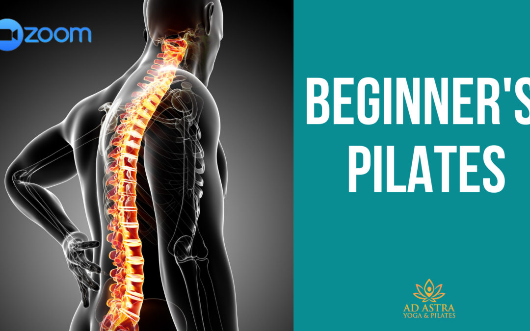 Graphic design image of a male, highlighting the spine, with the words, Beginner's Pilates